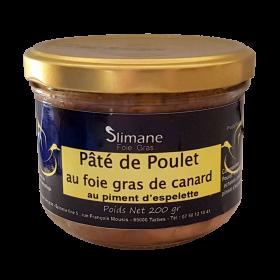 Pâté de poulet au foie gras de canard au piment d'espelette